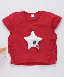 Kookie Kids Half Sleeves Top Star Patch - Red