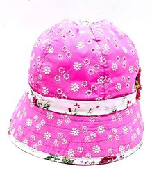 Kid-O-World Floral Piping Hat - Pink