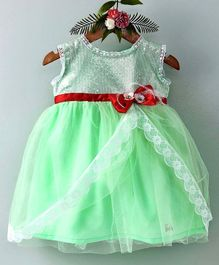 Barbie By Many Frocks & Bow Applique Sleeveless Dress - Green