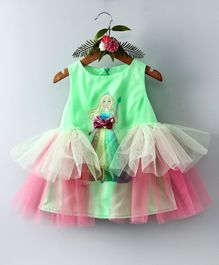 Barbie By Many Frocks & Doll Print Sleeveless Dress - Green