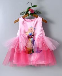 Barbie By Many Frocks & Doll Print Sleeveless Dress - Pink