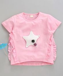 Kookie Kids Half Sleeves Top Star Patch - Pink