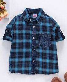 Babyhug Full Sleeves Check Shirt - Navy Blue