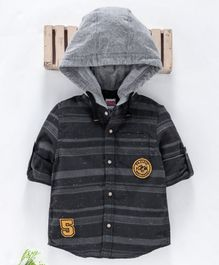 Babyhug Full Sleeves Striped Hooded Shirt - Grey