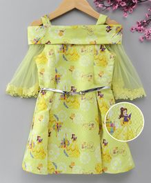 Peppermint Three Fourth Sleeves Princess Print Cold Shoulder Dress - Yellow