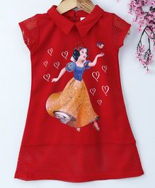 Peppermint Snow White Print Short Sleeves Collared Dress - Red