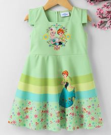 Peppermint Flower & Princess Print Sleeveless Dress - Green