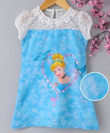 Peppermint Cap Sleeves Princess Print A Line Dress - Blue