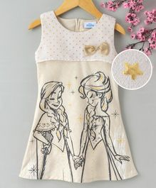 Peppermint Sleeveless Elsa & Anna Print Dress - Beige