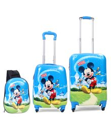 Disney Mickey Mouse and friends Kids Trolley Bags and Backpack Set of 3 20 & 16 inches Blue