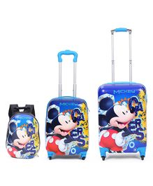 Disney Mickey Mouse And Friends Kids Trolley Bags & Backpack Set of 3 - Blue