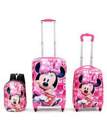 Disney Minnie Mouse Trolley Bags & Backpack Set of 3 - Pink