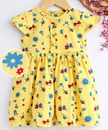 Babyhug Half Sleeves Frock Multi Print - Yellow