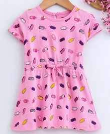Babyhug Half Sleeves Single Jersey Frock Ice Cream Print - Pink