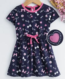 Babyhug Half Sleeves Single Jersey Frock Multiprint - Navy Blue