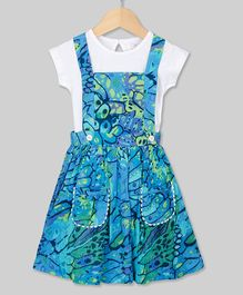Young Birds Short Sleeves Attached Tee Flower Print Pinafore Dress - Blue