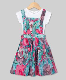 Young Birds Flower Print Short Sleeves Dress With Attached Tee - Pink