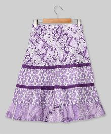 Young Birds Flower Print Long Skirt - Purple