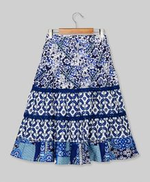 Young Birds Flower Print Long Skirt - Navy Blue