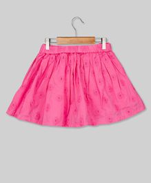 Young Birds Embroidered Elastic Waist Skirt - Pink