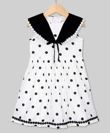 Young Birds Sailor Collar Dot Print Sleeveless Dress - Black
