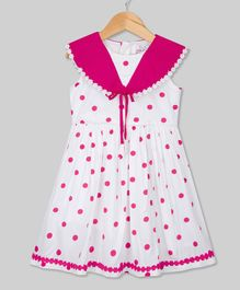 Young Birds Sailor Collar Dot Print Sleeveless Dress - Pink