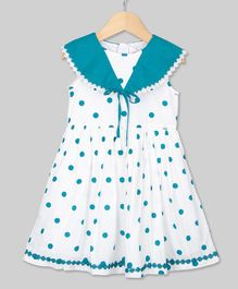 Young Birds Sailor Collar Dot Print Sleeveless Dress - Green