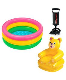 Intex Kids Swimming Pool With Teddy Chair & Hand Pump - Multicolour