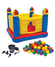 Intex Inflatable Jump O Lene Castle Bouncer With Plastic Soft Balls And Air Pump - Multicolour