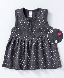 Pink Rabbit Sleeveless Floral Frock - Grey