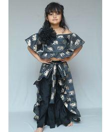 af69a2252ab Varsha Showering Trends Elephant Print Off Shoulder Half Sleeves Top    Bottom With Skirt Set -