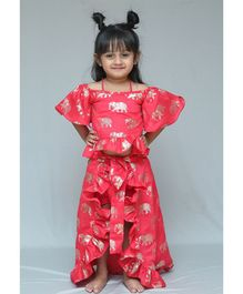 Varsha Showering Trends Elephant Print Half Sleeves Top & Skirt With Shorts Set - Pink