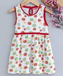 Babyhug Sleeveless Knee Length Frock Melon Print - Multicolour