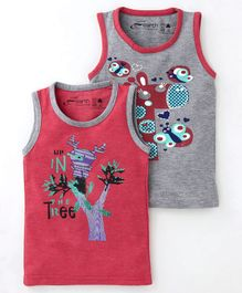 Earth Conscious Combo Of 2 Printed Sleeveless T-Shirt - Grey & Pink