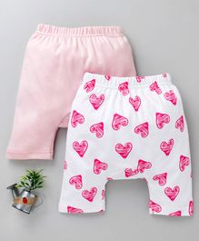 Earth Conscious Combo Of 2 Heart Print Pants - Pink & White