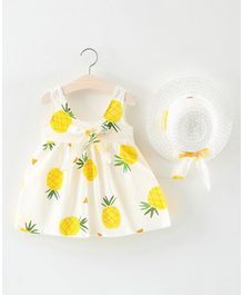 Pre Order - Awabox Pineapple Printed Sleeveless Dress With Hat - Yellow