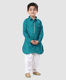 e7c9ee477b6 Babyhug Full Sleeves Pathani Kurta With Pyjama Embroidered - Sea Green