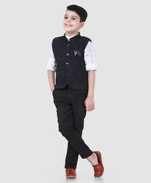 c2de49dfd50 Dapper Dudes Full Sleeves Polka Dot Print 3 Piece Party Suit - Dark Grey