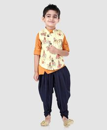 Dapper Dudes Full Sleeves Solid Kurta With Elephant Print Jacket & Dhoti Set - Cream & Orange