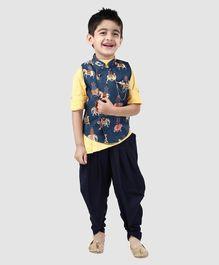 e91ef530502 Dapper Dudes Full Sleeves Solid Kurta With Elephant Print Jacket   Dhoti  Set - Blue