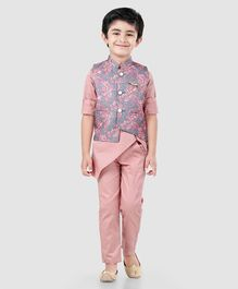 Dapper Dudes Full Sleeves Kurta With Flower Print Jacket & Pajama Set - Peach