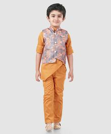 Dapper Dudes Full Sleeves Kurta With Flower Print Jacket & Pajama Set - Orange