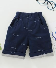 Jash Kids Mid Thigh Length Shorts Allover Print - Navy Blue