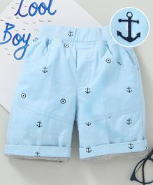 Jash Kids Mid Thigh Length Shorts Anchor Print - Sky Blue