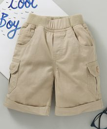 Jash Kids Solid Color Mid Thigh Length Shorts - Beige