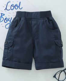 Jash Kids Solid Color Mid Thigh Length Shorts - Navy Blue