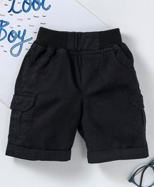 Jash Kids Solid Color Mid Thigh Length Shorts - Black