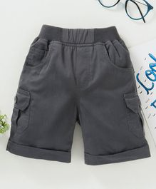 Jash Kids Solid Color Mid Thigh Length Shorts - Grey