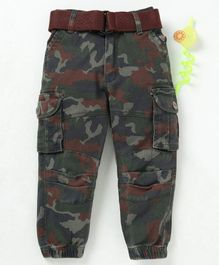 Noddy Camouflage Print Full Length Pant & Belt - Green