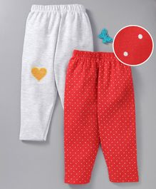 Mom's Love Elastic Waist Leggings Polka Dots Print Pack of 2 - Grey Red